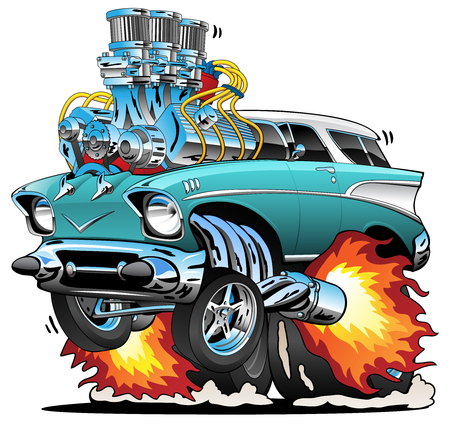 Classic Fifties Hot Rod Muscle Car Cartoon Vector Illustration Vettoriali