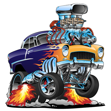 Classic hot rod muscle car, flames, big engine, cartoon vector illustration