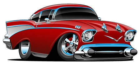 Classic hot rod 57 muscle car, low profile, big tires and rims, candy apple red, cartoon vector illustration 向量圖像