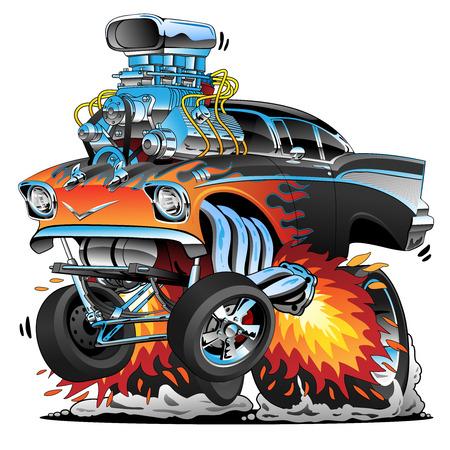 Klasyczny hot rod w stylu lat pięćdziesiątych gasser drag racing muscle car, czerwone gorące płomienie, duży silnik, dużo chromu, ilustracja kreskówka wektor Ilustracje wektorowe