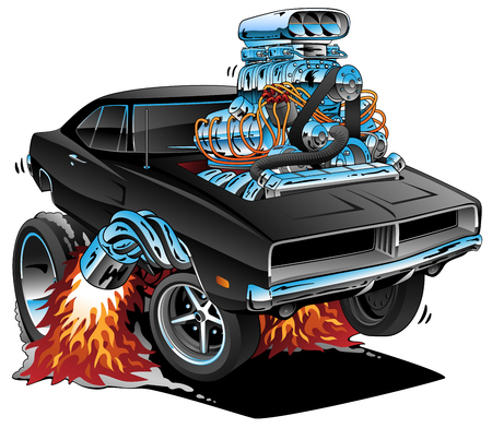 Classic Sixties Style American Muscle Car, Huge Chrome Motor, Popping a Wheelie, Cartoon Vector Illustration