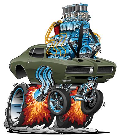 Classic American Muscle Car Hot Rod Cartoon Vector Illustration Stock fotó - 118484940