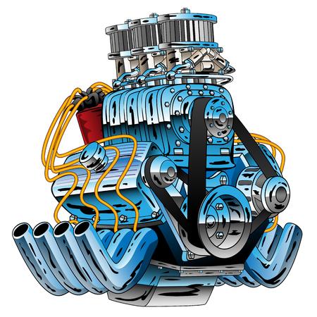 Hot Rod samochód wyścigowy Dragster silnika kreskówka wektor ilustracja