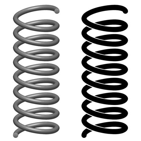 Ilustración vectorial de primavera en metal 3D y dibujo de líneas negras