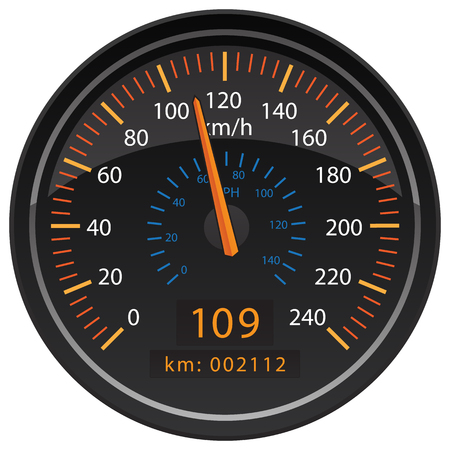 KMH Kilometers per Hour Speedometer Odometer Automotive Dashboard Gauge Vector Illustration