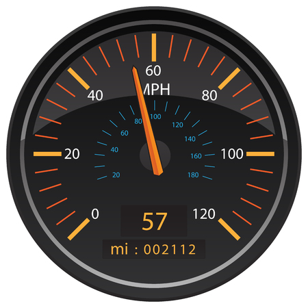 MPH Miles per Hour Speedometer Odometer Automotive Dashboard Gauge Vector Illustration Çizim