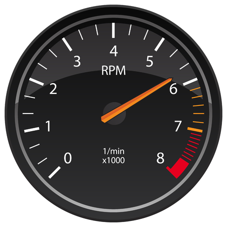 RPM Tachometer Automotive Dashboard Gauge Vector Illustration Çizim