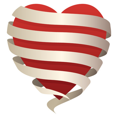 Beautiful romantic heart wrapped in a flowing banner, perfect for love, romance, Valentines day, etc, vector illustration