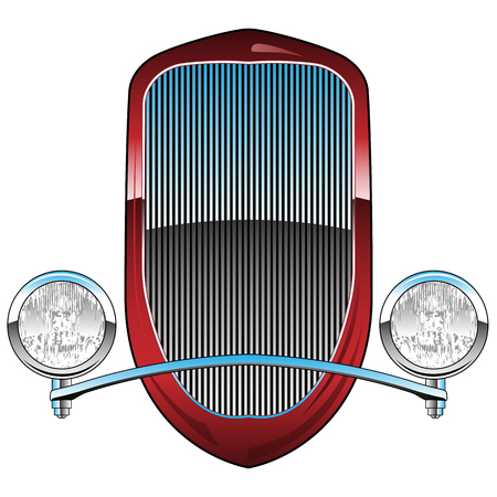 1930s Style Hot Rod Car Grill with Headlights and Chrome Trim Vector Illustration Иллюстрация