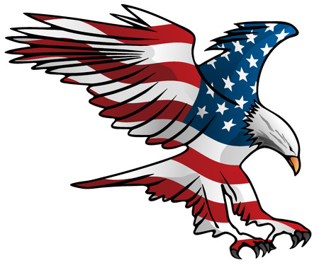 Patriotic Flying American Flag Eagle Vector Illustration
