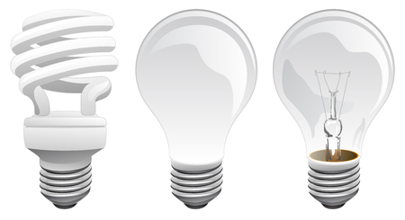 LED and Incandescent Light Bulbs Vector Illustration