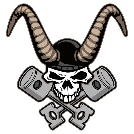 Cráneo con cuernos y pistones cruzados ilustración vectorial