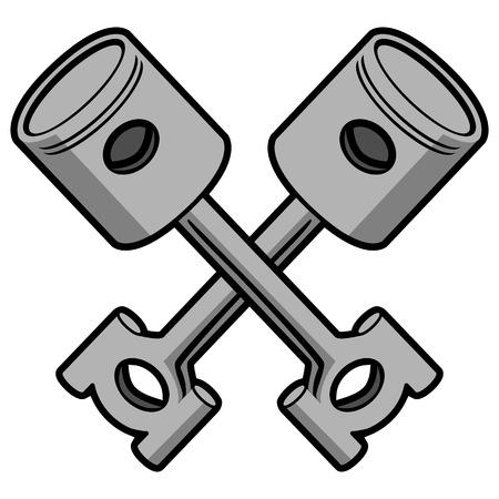 Crossed Pistons Vector Illustration  イラスト・ベクター素材