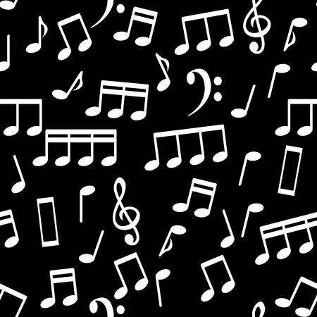 Musical Notes, Seamless Pattern Background Vector Illustration