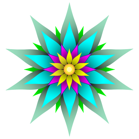 Sharp beautiful geometric flower design, bold colors, perfectly symmetrical for use as a background, pattern or other graphic element, vector illustration, isolated for easy editing