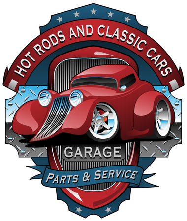 Hot Rods and Classic Cars Garage Vintage Sign Vector Illustration Illustration