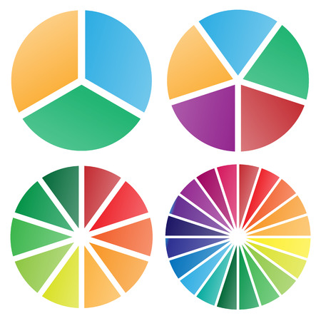 Pie charts group isolated vector illustration