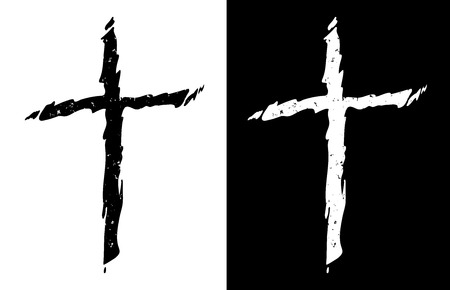 Old rugged distressed christian cross in both black and white isolated isolated vector illustration