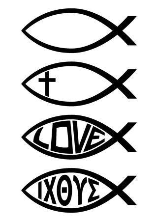 Ichthus Christian Fish Symbol Religious Icon Vector Illustration