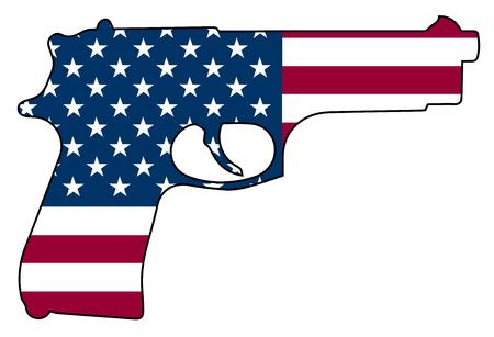 Drapeau Américain Pistolet Pistolet Automatique Pistolet Isolé Illustration Vectorielle