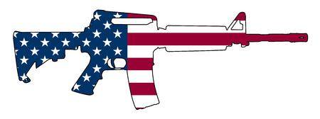 Drapeau Américain Pistolet Fusil Semi-Automatique Isolé Illustration Vectorielle