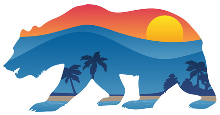 California bear with mountain shoreline summer scene overlay vector illustration