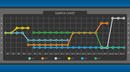 Point to Point Line Graph Chart Infographic Vector Illustration Çizim