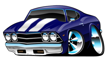 Classic American Muscle Car Cartoon, Deep Cobalt Blue, Vector Illustration Çizim