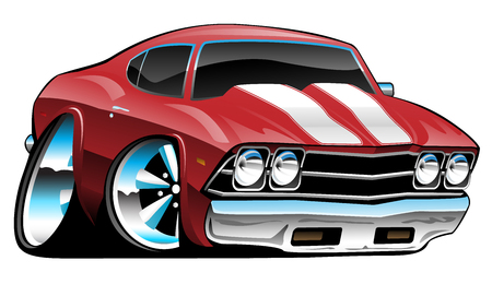 Classic American Muscle Car Cartoon, Bold Red, Vector Illustration Vettoriali