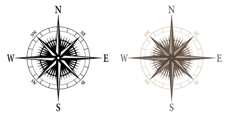 Compass, isolated vector illustration in both black and color versions