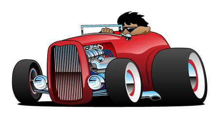 Highboy Hot Rod Roadster with Driver Isolated Vector Illustration Stock Illustratie