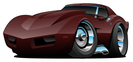 Classic Seventies American Sports Car Cartoon Isolated Vector Illustration Çizim
