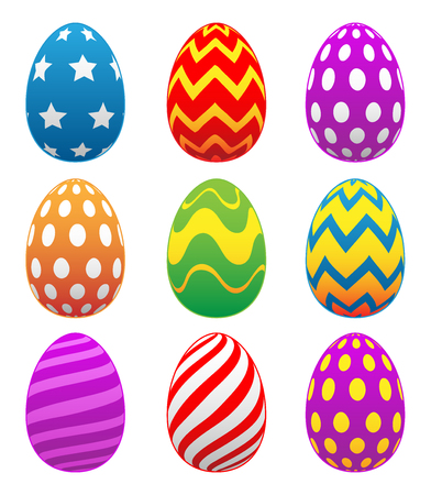 Colorful Painted Easter Eggs Isolated Vector Illustration