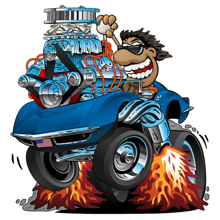 Classic Sports Car Cartoon, Funny Driver, Isolated Vector Illustration Çizim