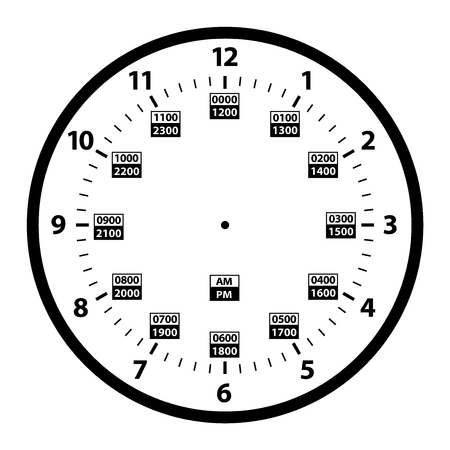 12 to 24 Hour Military Time Clock Conversion Template Isolated Vector Illustration