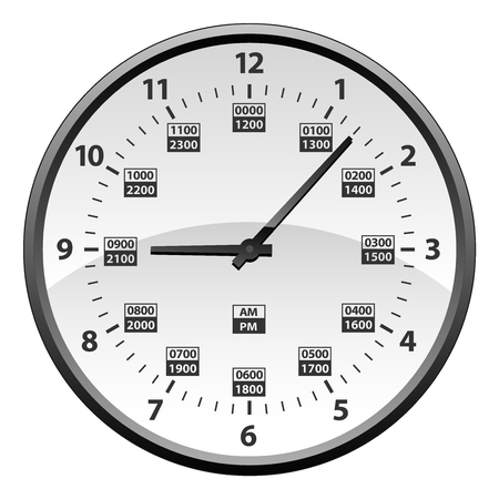Realistic 12 to 24 Hour Military Time Clock Conversion Isolated Vector Illustration Çizim
