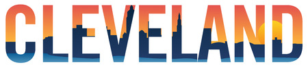 Cleveland skyline in text isolated vector graphic illustration