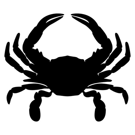 Crab Silhouette Isolated Vector Illustration Çizim