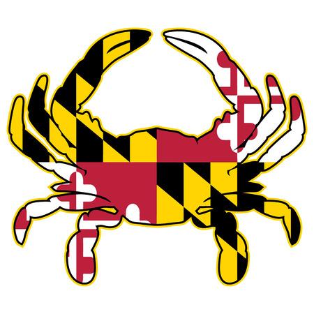 Cangrejo Bandera Maryland Ilustración Vector Aislado Ilustración de vector