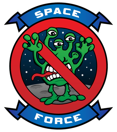 Funny Space Force Alien Cartoon Vector Illustration