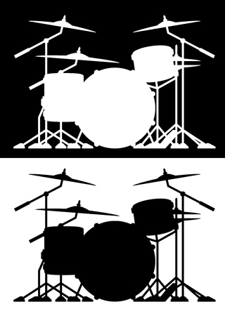 Drum set silhouette isolated vector illustration in both black and white Çizim