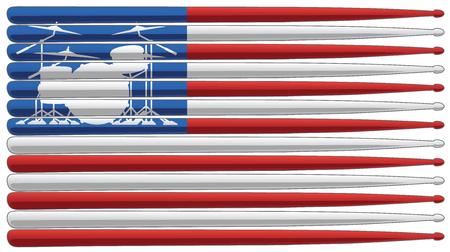 Drummer flag with drum set and drum sticks isolated vector illustration