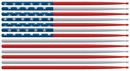 American drummer drum sticks flag with red, white and blue stars and stripes drum sticks isolated vector illustration Stock Illustratie