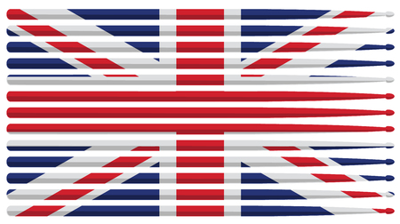 United Kingdom drummer drum stick flag with red, white and blue striped drum sticks isolated vector illustration Stock fotó - 121712665
