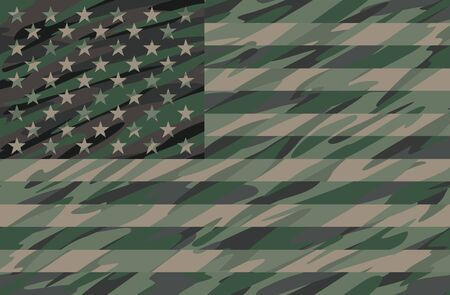 Patriotic Jungle Green Camo USA Flag Vector Illustration