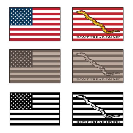USA and Dont Tread On Me flag isolated vector illustration set in full color, desert camouflage tones, and black 일러스트