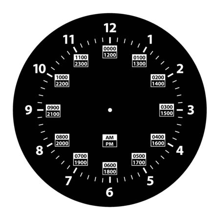 24 Hour Military Time and Standard Time Combo Clock, Black, Template Isolated Vector Illustration