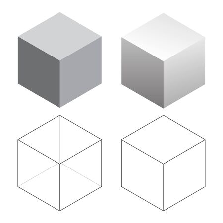 Isometric 3D Square Cubes Isolated Vector Illustration  イラスト・ベクター素材