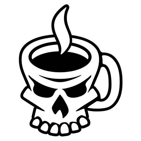 Coffee Skull Isolated Vector Illustration Ilustracja
