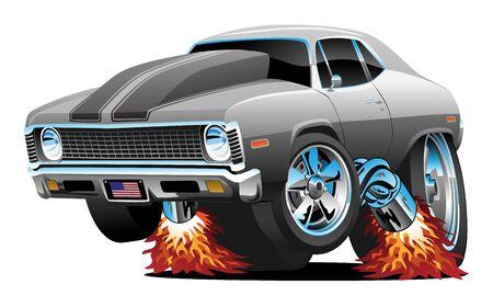 Classic American Muscle Car Hot Rod Cartoon isolato illustrazione vettoriale Vettoriali
